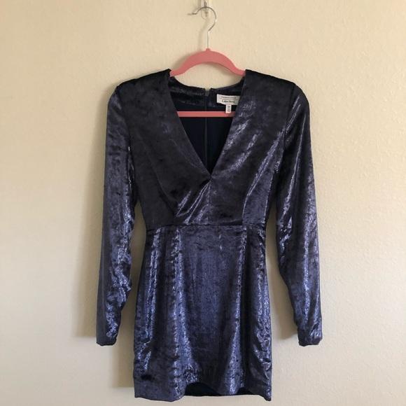 & Other Stories Blue Velvet Dress